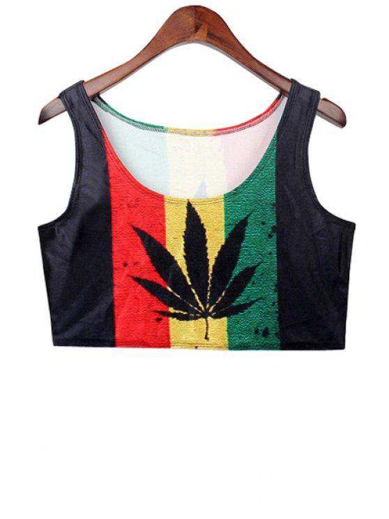 outfit Leaf Print Color Block Crop Top - COLORMIX ONE SIZE(FIT SIZE XS TO M)