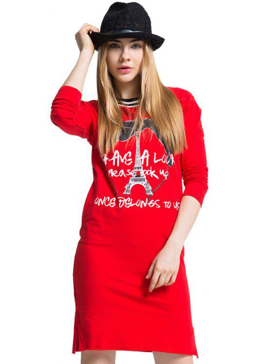 buy Letter and Tower Print Side Slit T-Shirt - RED ONE SIZE(FIT SIZE XS TO M)