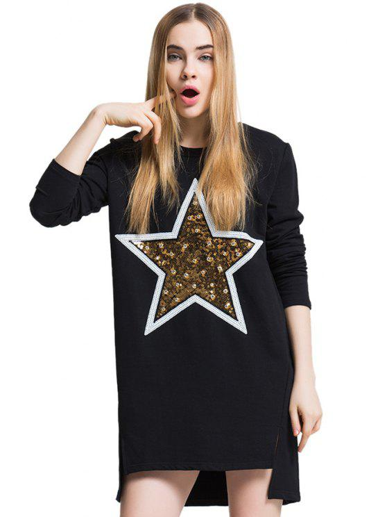 sale Sequins Rhinestone Asymmetrical T-Shirt - BLACK ONE SIZE(FIT SIZE XS TO M)