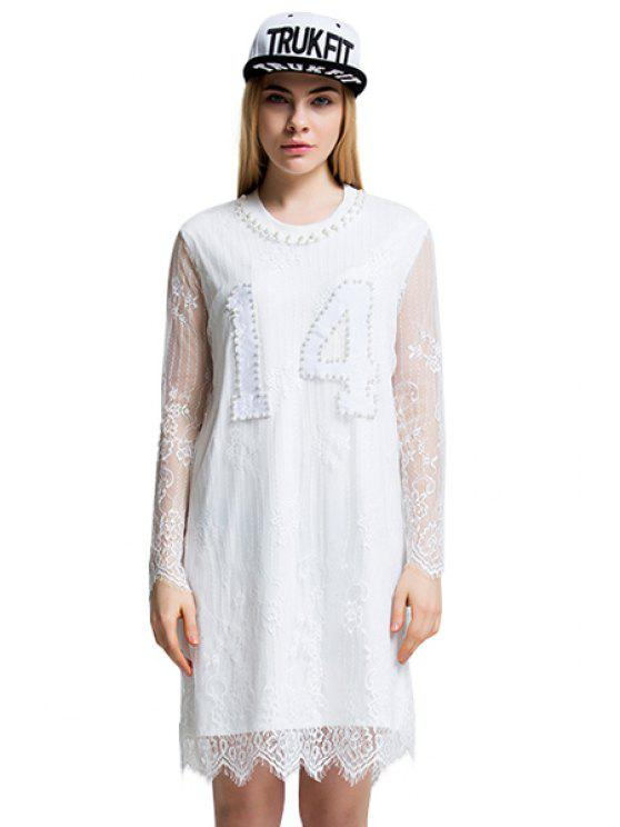 sale Figure Pattern Bead Lace Splicing Dress - WHITE ONE SIZE(FIT SIZE XS TO M)
