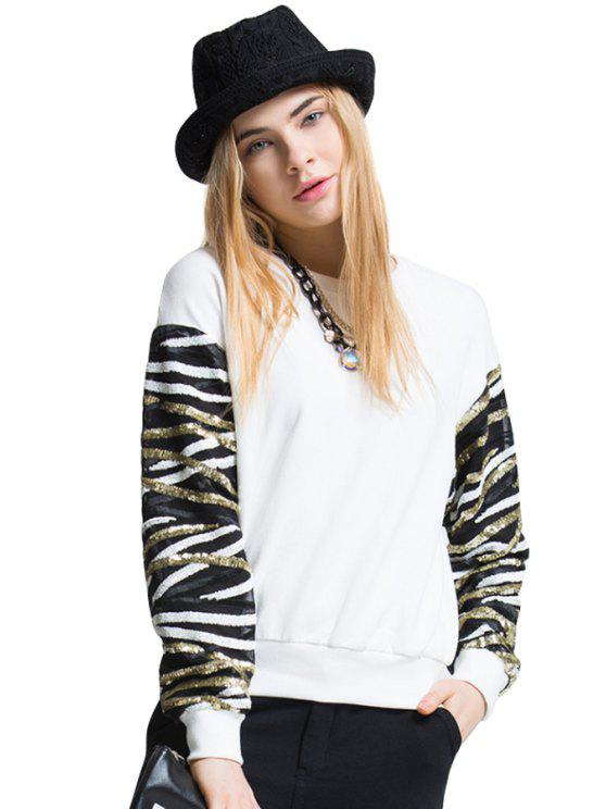 online Stripe Sequins Long Sleeve T-Shirt - WHITE ONE SIZE(FIT SIZE XS TO M)