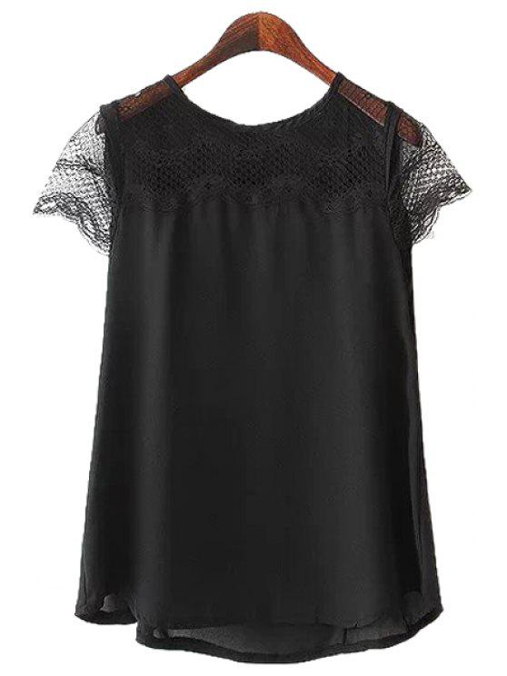 womens Lace Splicing Openwork Short Sleeve Shirt - BLACK S