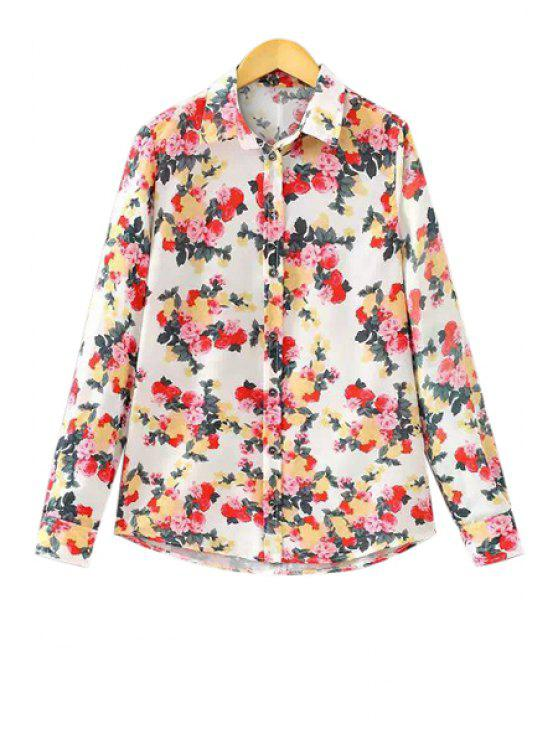 online Rose Print Long Sleeve Shirt - COLORMIX S