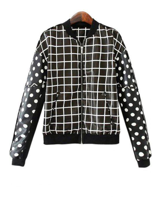 shops Polka Dot Plaid Long Sleeve Coat - BLACK M