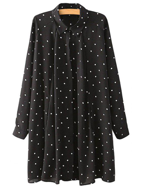 buy Polo Collar Polka Dot Dress - PURPLISH BLUE M