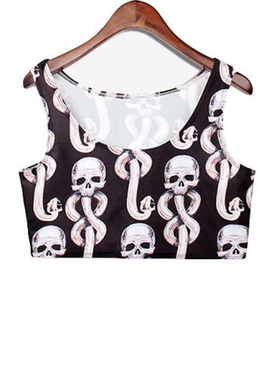 women's Skull Print Sleeveless Crop Top - BLACK ONE SIZE(FIT SIZE XS TO M)