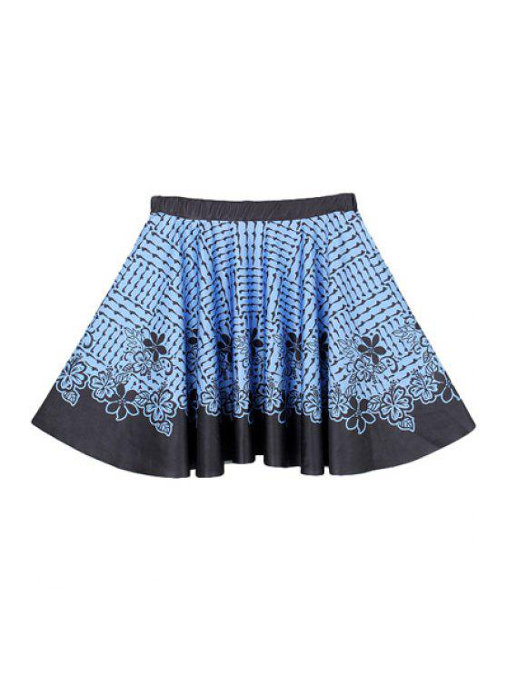lady Blue Flower Print A-Line Skirt - BLUE AND BLACK M