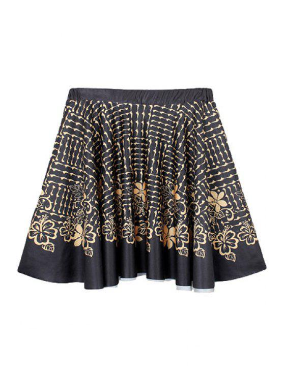 best Golden Flower Print A-Line Skirt - BLACK M