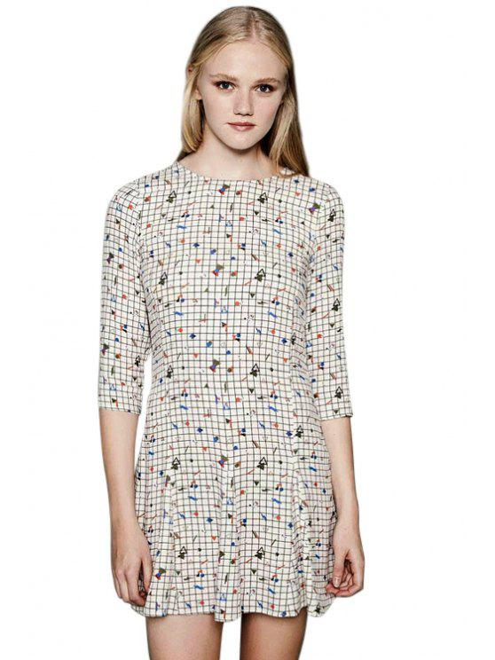shops Geometric Print Plaid 3/4 Sleeve Dress - CHECKED S