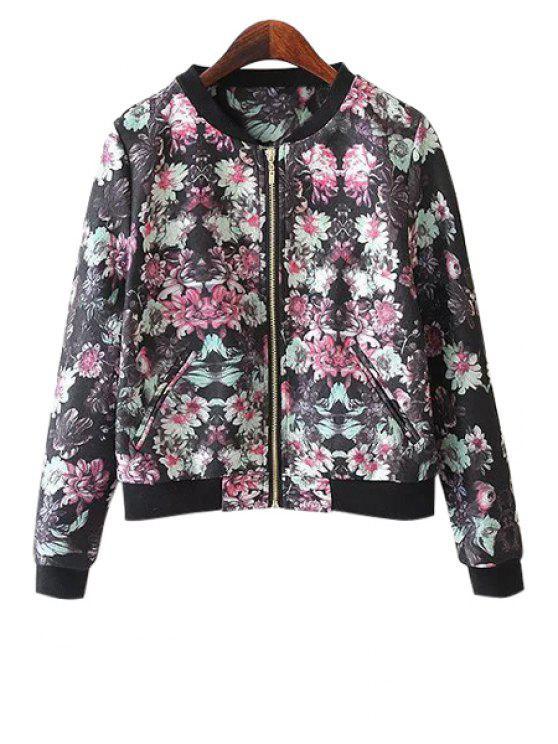 shop Floral Long Sleeve Zipper Jacket - COLORMIX S