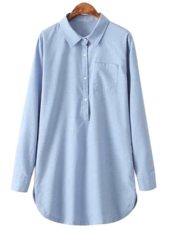 women's Light Blue Long Sleeve Shirt - LIGHT BLUE S