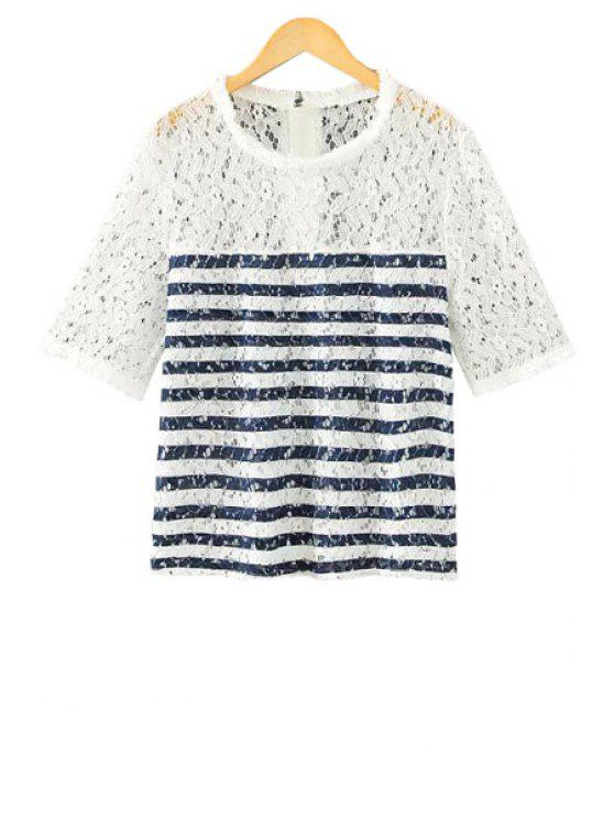 ladies Stripe Lace Splicing Openwork T-Shirt - BLUE S