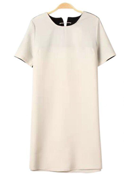 lady Color Block Short Sleeve Lace-Up Dress - BLACK XS