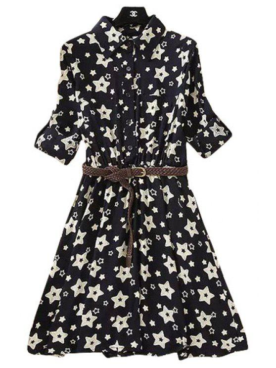 fashion Turn-Down Collar Star Print Dress - WHITE AND BLACK S