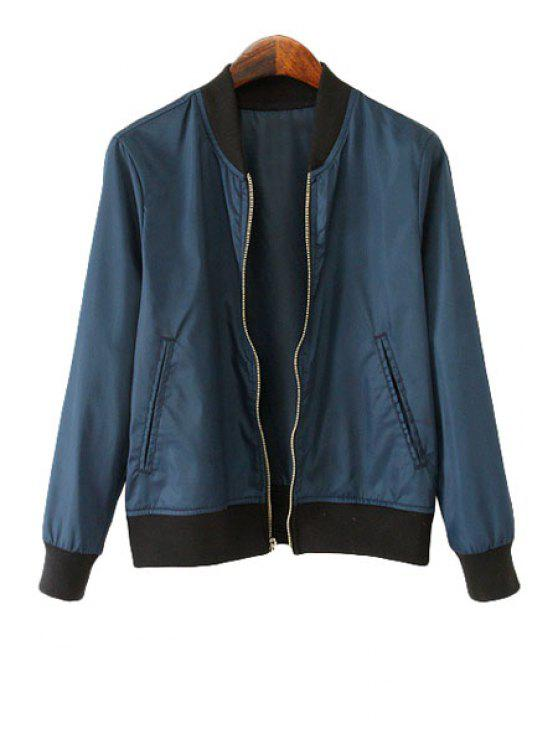 online Stand-Up Collar Zipper Fly Coat - PURPLISH BLUE XS