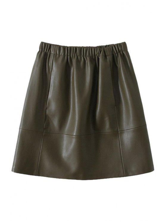 online Solid Color Faux Leather Skirt - OLIVE GREEN S