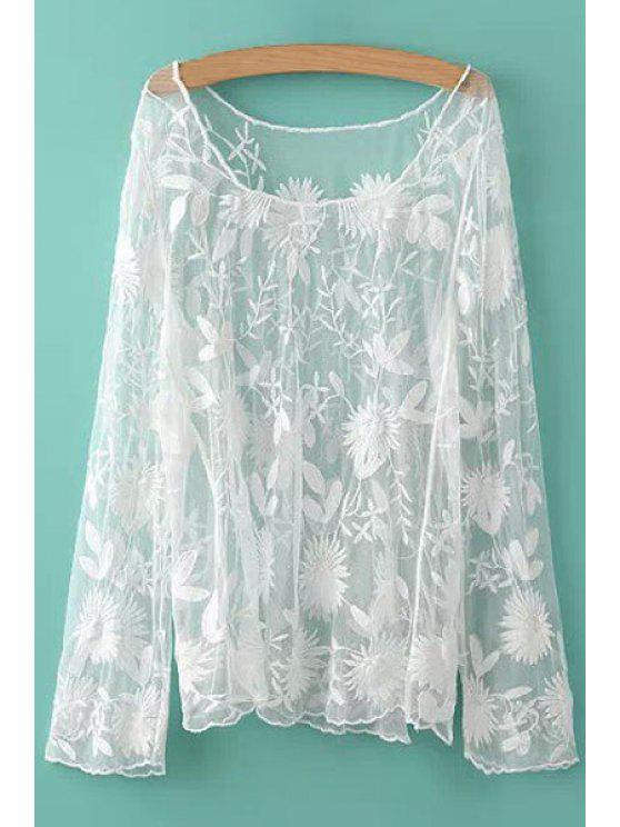 hot Floral Pattern Voile Blouse - WHITE ONE SIZE(FIT SIZE XS TO M)