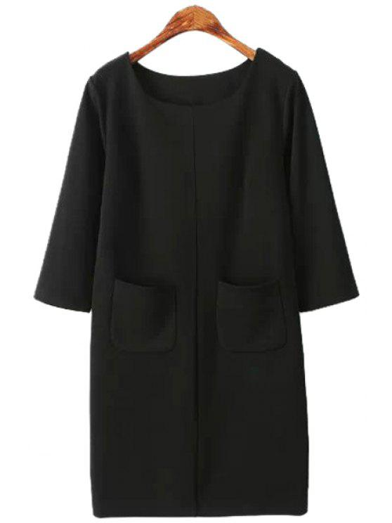 sale Solid Color 3/4 Sleeve Pockets Dress - BLACK S