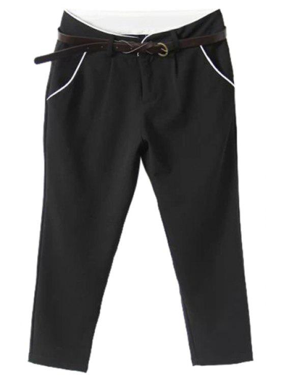 fashion Solid Color Capri Pants - BLACK S