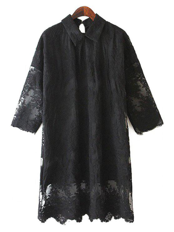 women's Half Sleeve Lace Dress - BLACK ONE SIZE(FIT SIZE XS TO M)