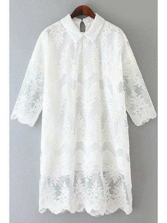 lady Half Sleeve Lace Dress - WHITE ONE SIZE(FIT SIZE XS TO M)