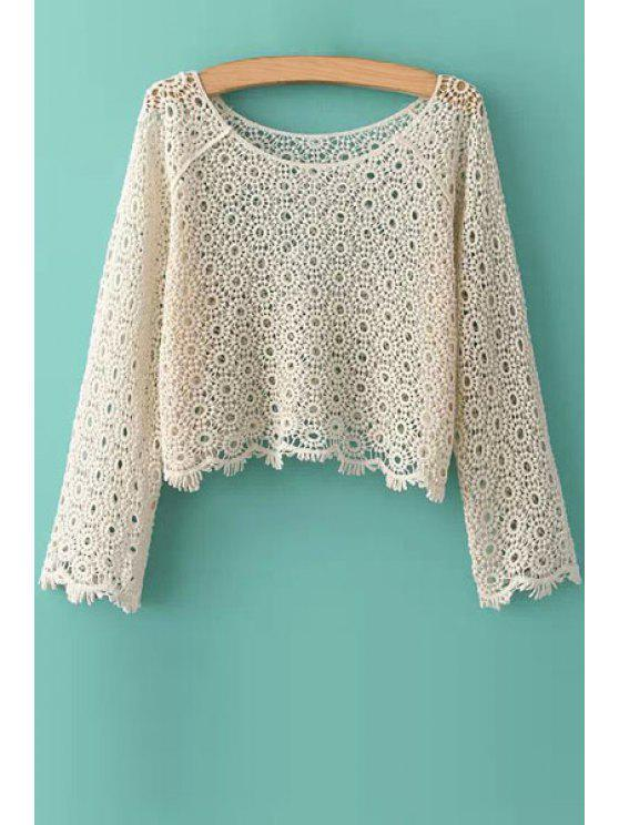 outfits Openwork Solid Color Lace Blouse - OFF-WHITE ONE SIZE(FIT SIZE XS TO M)