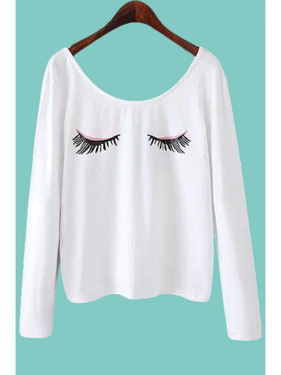 shops Eyelash Print Long Sleeve T-Shirt - WHITE S