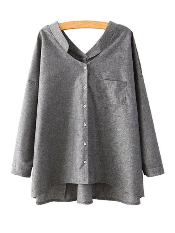 fashion V-Neck Solid Color Blouse - DEEP GRAY M
