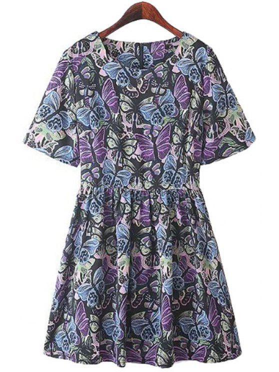 womens Butterfly Print A-Line Short Sleeve Dress - COLORMIX M