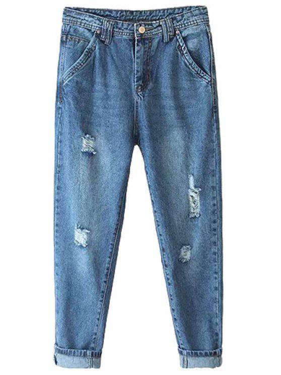 trendy Bleach Wash Hole Jeans - LIGHT BLUE S