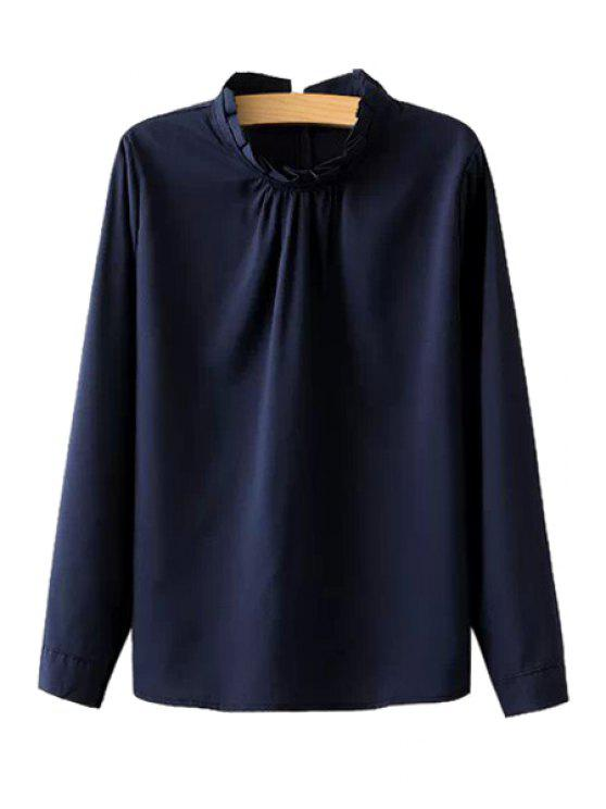 buy Stand Collar Solid Color Blouse - PURPLISH BLUE ONE SIZE(FIT SIZE XS TO M)