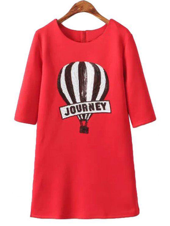 sale Fire Balloon Pattern Sequins Dress - RED S