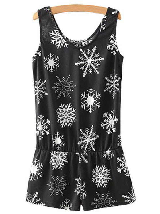 women's Snowflake Print Sleeveless Romper - WHITE AND BLACK S