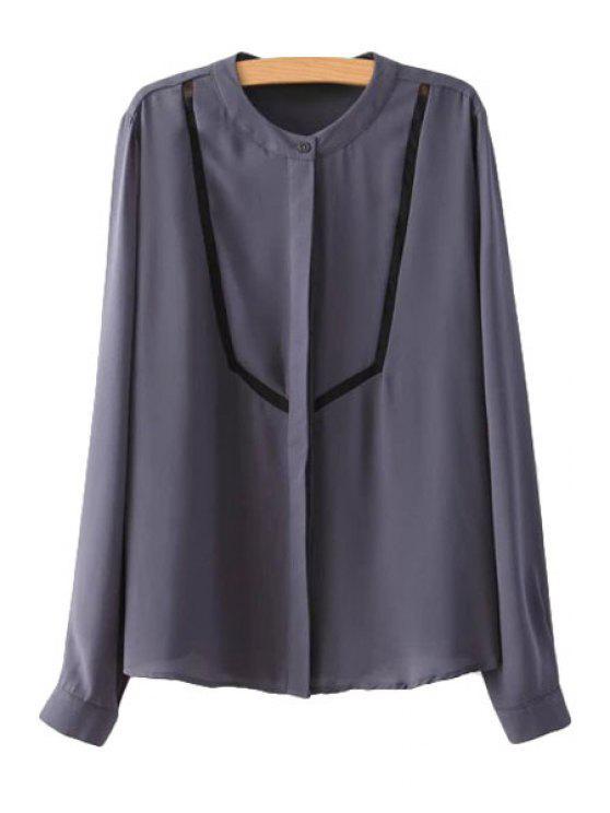 fashion Voile Splicing Chiffon Long Sleeve Shirt - PURPLE S