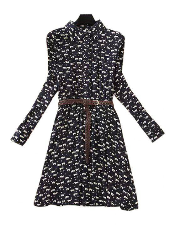 shop Tiny Kitten Print Long Sleeve Dress - WHITE AND BLACK S
