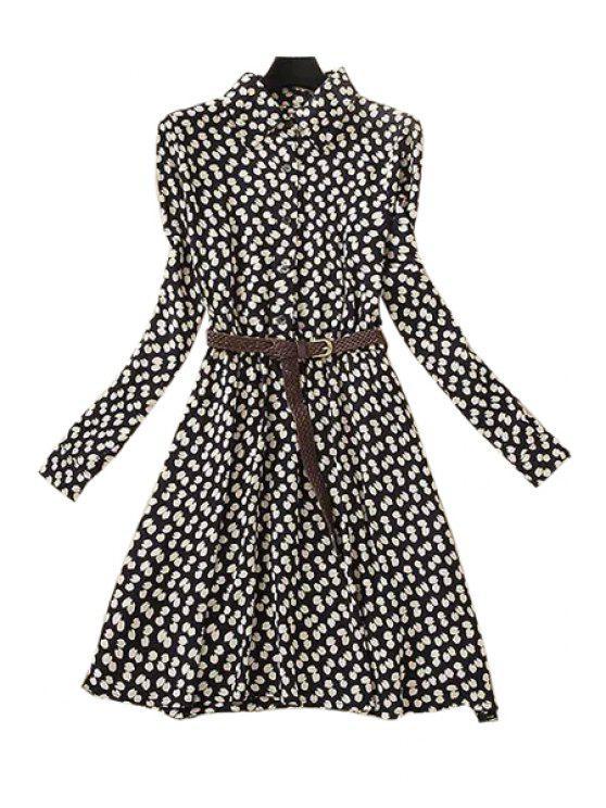 fashion Full Leaf Print Long Sleeve Dress - WHITE AND BLACK S