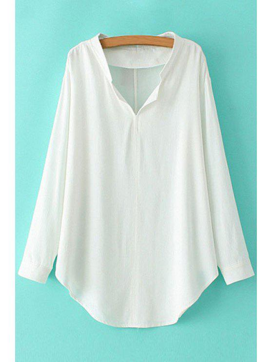 unique V-Neck Solid Color Long Sleeve Shirt - WHITE M