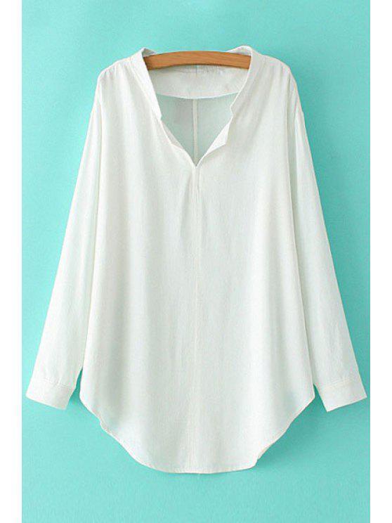 unique V-Neck Solid Color Long Sleeve Shirt - WHITE M