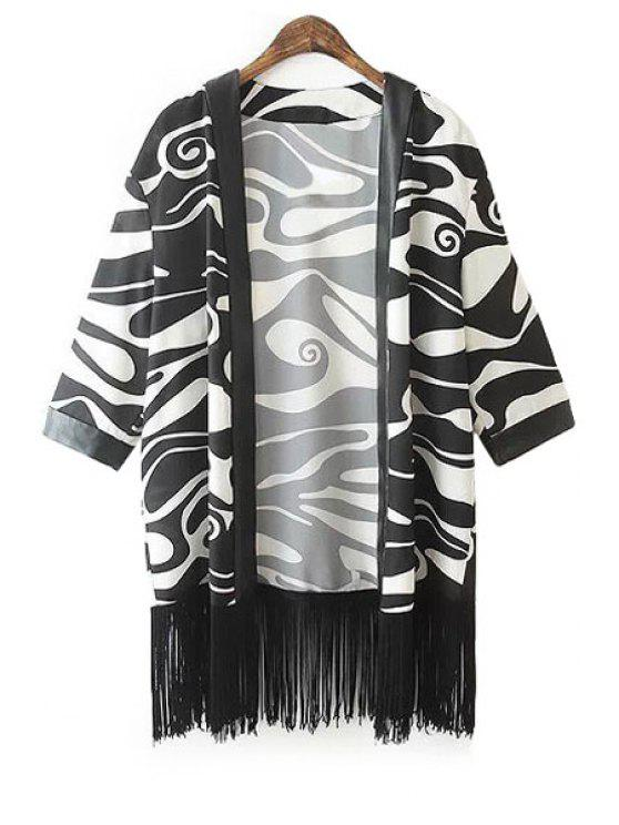 outfits Fringe Color Block 3/4 Sleeve Coat - WHITE AND BLACK S