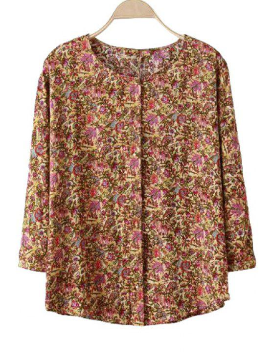 affordable Floral Print 3/4 Sleeve Shirt - COLORMIX S
