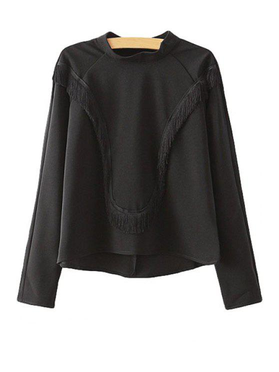 women's Stand-Up Collar Fringe Solid Color Shirt - BLACK M