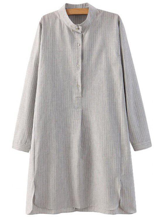 lady Stripe Slit Asymmetrical Long Sleeve Shirt - GRAY M