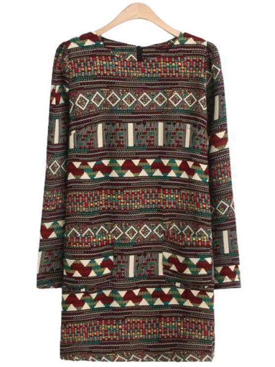 hot Scoop Neck Geometric Print Dress - COLORMIX S