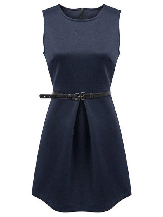 fashion Jewel Neck Solid Color Sundress - PURPLISH BLUE S