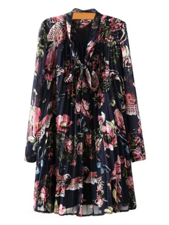 sale Floral Pleated Chiffon Dress - COLORMIX S