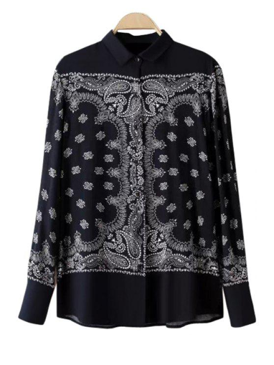 lady Retro Print Long Sleeves Shirt - BLACK S
