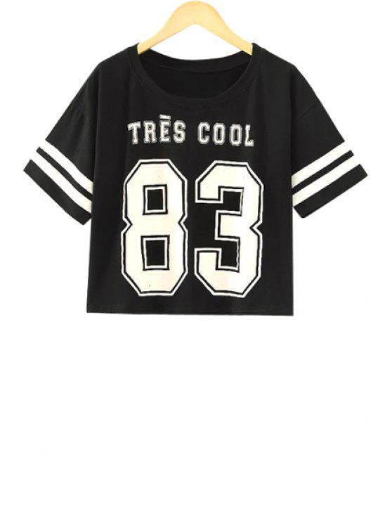 unique Short Sleeve Number Print T-Shirt - BLACK S