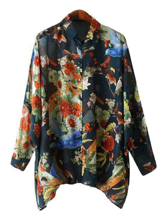 new Floral and Bird Print Asymmetrical Shirt - COLORMIX S