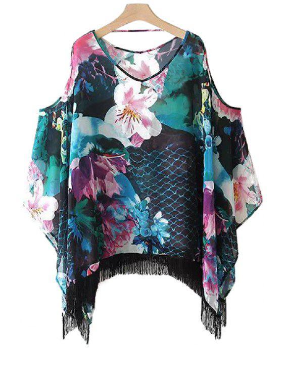 outfits Floral Fringe Off-The-Shoulder Dress - COLORMIX L