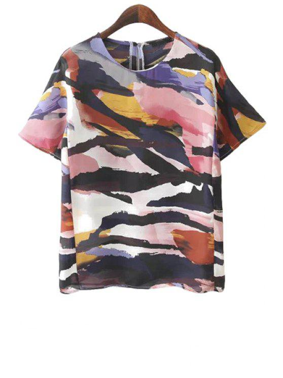 women's Jewel Neck Colorful Print T-Shirt - COLORMIX S